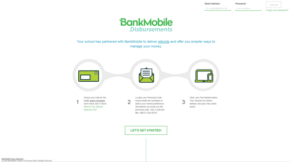 Steps Outline and Let's get started link at BankMobileVibe.com
