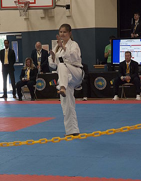 Marti Phillips competes in the U.S. TaeKwon Do national championships.