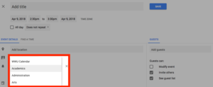 Image indicating where in the Google Calendar interface you will be able to find the calendar drop-down selector.