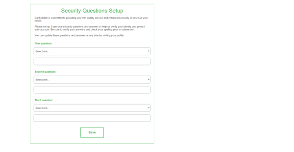 "A screen-shot of a page titled ""Security questions setup"" with three spaces to select a security question and answer"