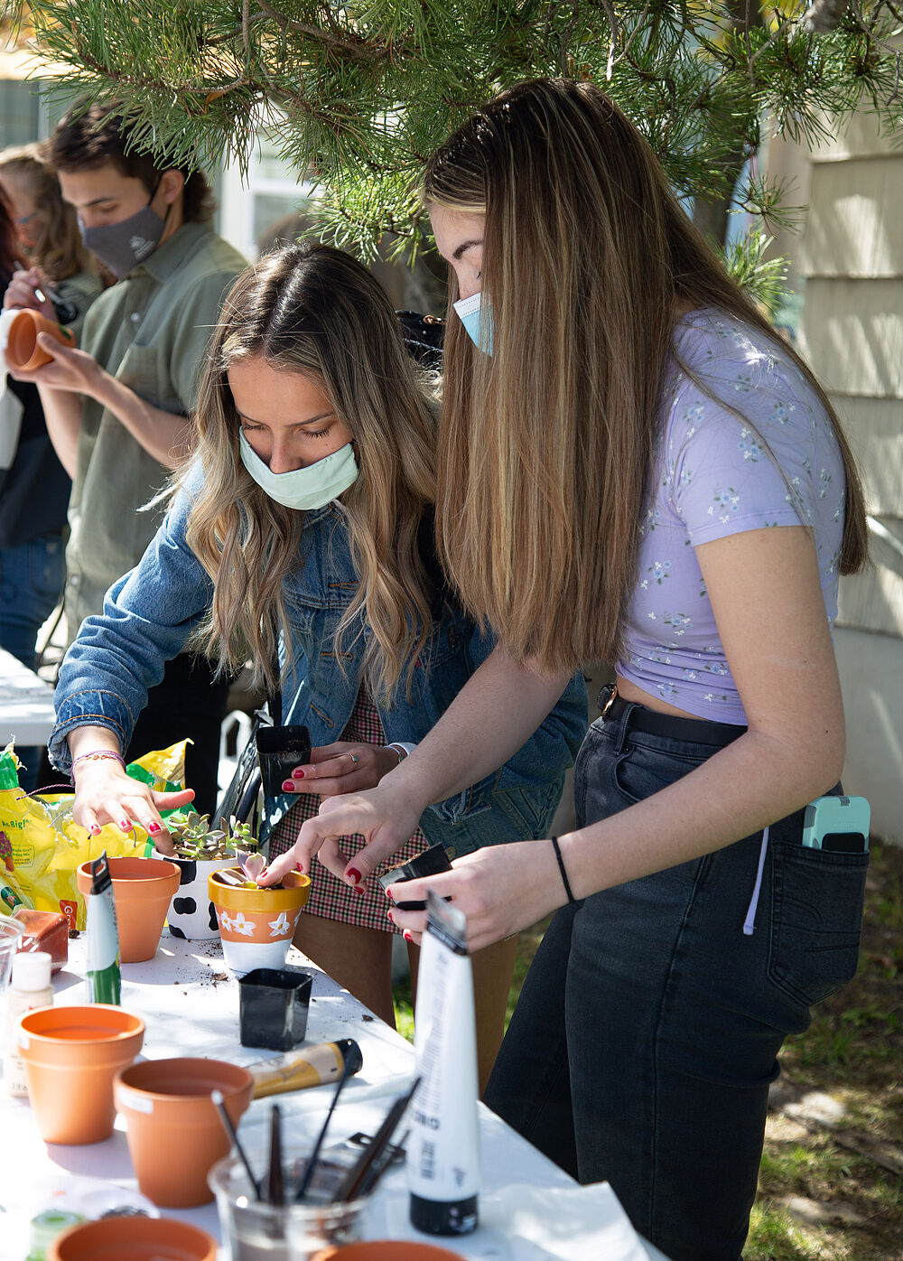 Students gather around tables to paint pots for their succulents