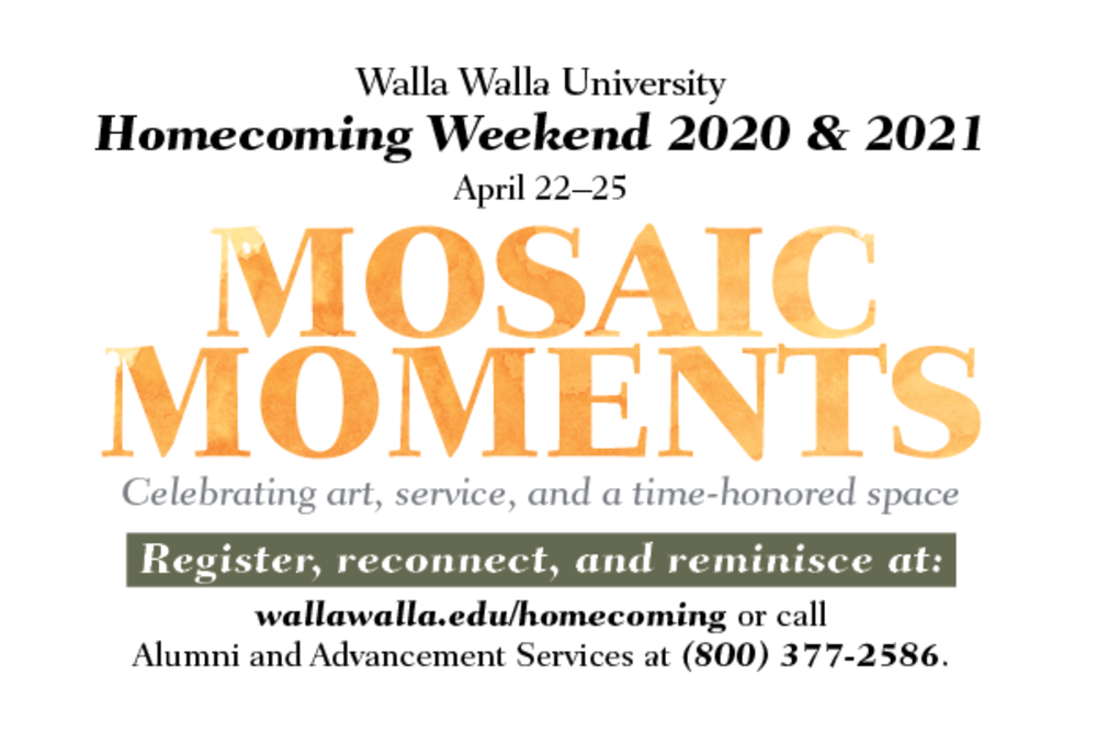 Mosaic Moments homecoming ad with large orange words