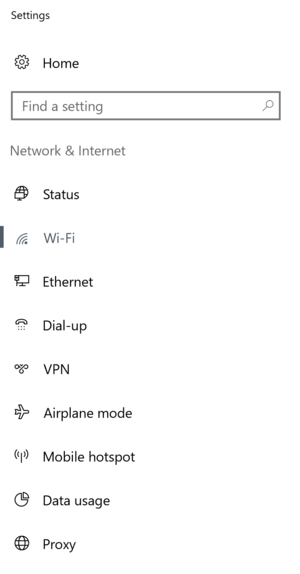 Settings sidebar menu on Windows device