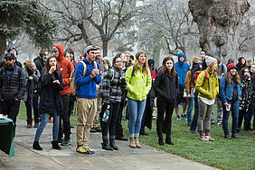 A large crowd gathered on front campus at 8:30 a.m. to kick off the celebration.
