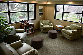 Large, soft chairs give students a place to study quietly together, and large new windows offer beautiful views of Centennial Green.