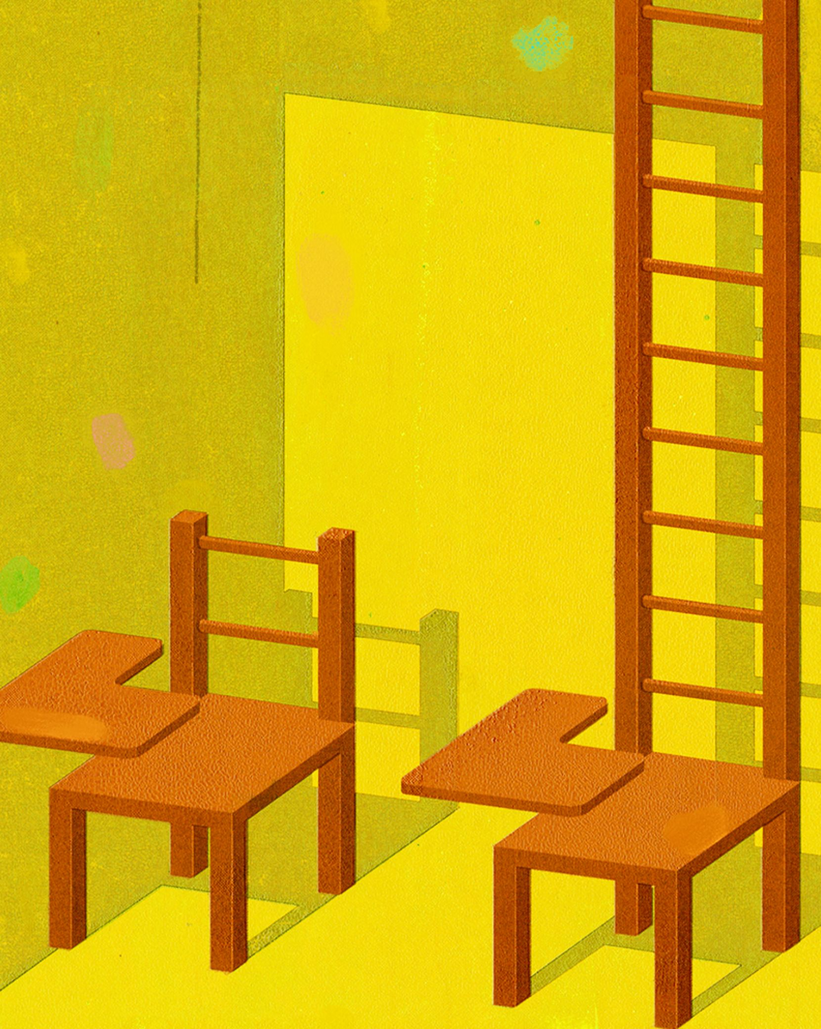 Picture contrasting a normal school desk with a desk that has a ladder as the back board. Illustrating the ladder of succes in education.