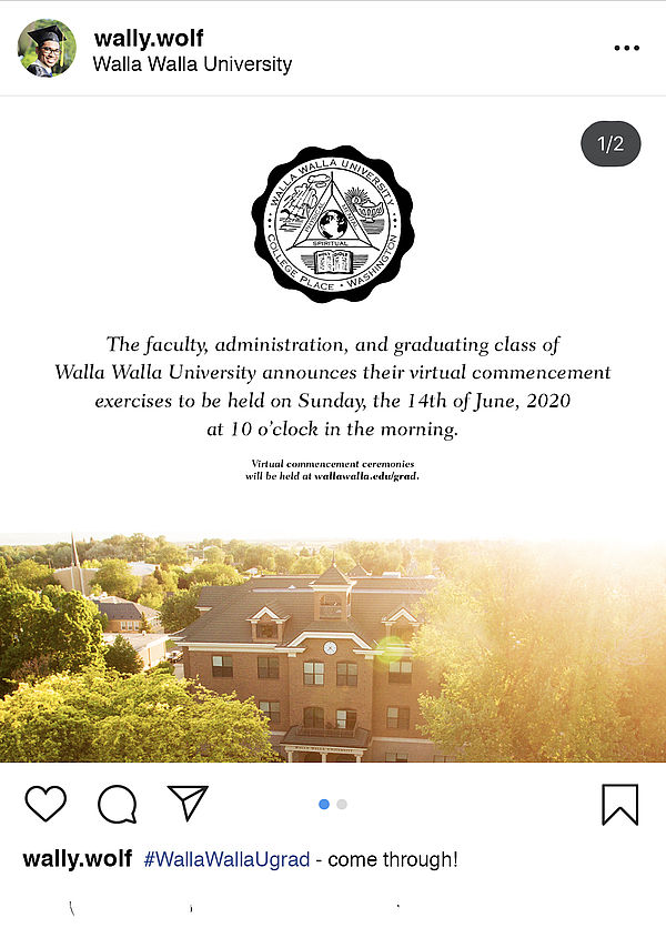 Walla Wolf Instagram Post about June 14 2020 Graduation