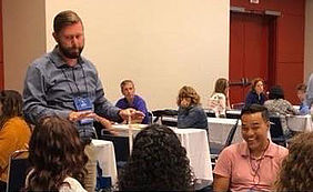 """Engineering for Elementary STEM Learning"" was the title of a workshop presented by Brian Hartman, assistant professor of education."