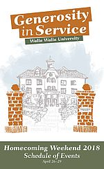 Cover of the Homecoming Weekend schedule depicting and illustration of the Administration Building and the Gates to Service.