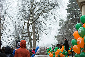 Freezing temperatures and icy sidewalks didn't hinder the spirit of celebration and community at the morning program.
