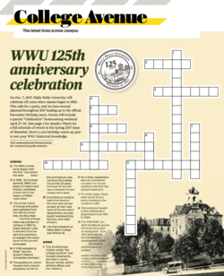 WWU 125th anniversary crossword puzzle