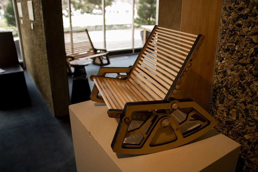 Vincent Weibel's wooden chair on display.