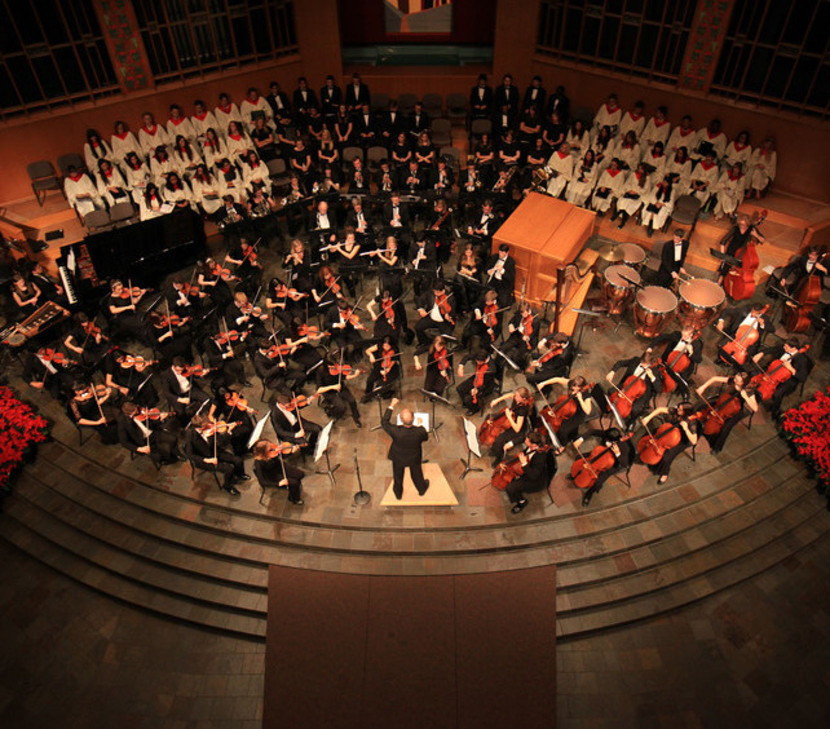 Overhead photo of the orchestra performing in the WWU University Church.