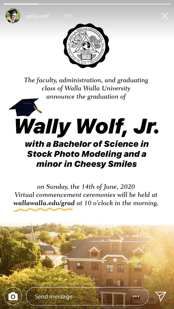 Wally Wolf Instagram story announcing Wally Wolf's graduation