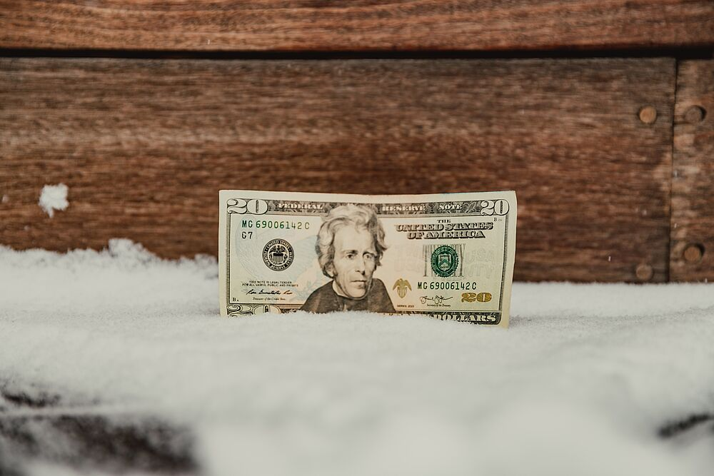 20 dollar bill sitting in snow