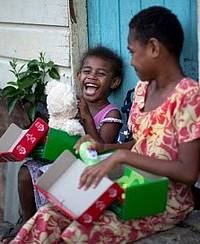Operation Christmas Child boxes are shipped to more than 100 countries and territories where local churches distribute the boxes to children in need. (Photo courtesy of Samaritan's Purse)