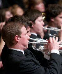 A student performs in the WWU brass ensemble.