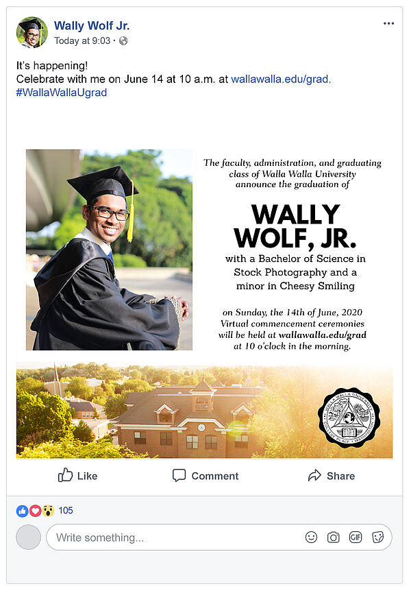 Facebook post Announcement of Wally Wolf's graduation