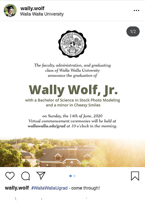 Instagram post announcing Wally Wolf's graduation