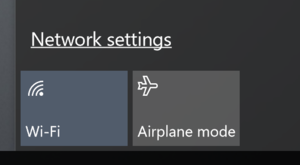 Network Setting selection screen on Windows device