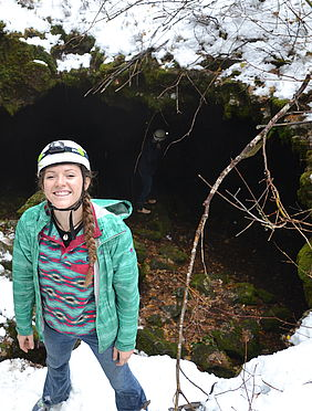 Students enter Mile Long Cave, an extinct lava tube.