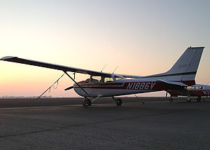 Cessna 172 on the ground, at sunset