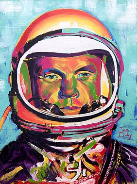 A piece from Libby's art show features John Glenn, a United States Marine Corps aviator and the first American to orbit the Earth.