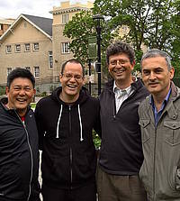 Volunteers who helped facilitate and develop the Hackathon this year were (left to right) Bernard Pham '83, electrical engineering; Israel Hilerio; Alwin Vyhmeister '87, electrical engineering; and Paulo Sarli.