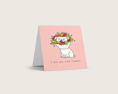 Pug with flowers card