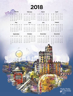 2018 Calendar with illustration of downtown Walla Walla