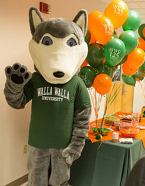 Wally the Wolf made several appearances throughout the day-long 125th anniversary celebration.