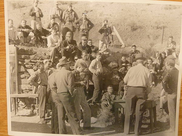 Class outside at fish cannery circa 1950