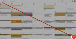 "Image indicating where in the Google Calendar interface you will be able to find ""add an event."""